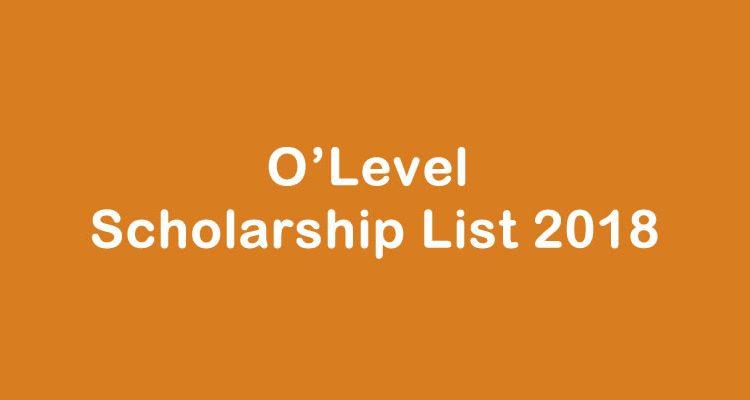 o'level scholarship 2018 list